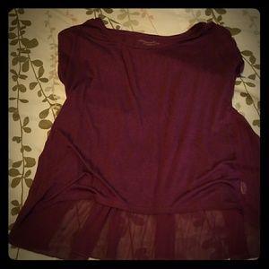 Cute,  peplum maroon color shirt..